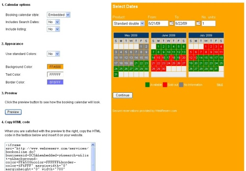 Customizing booking calendar colors