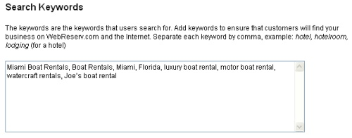 Specify search keywords in the administration tool