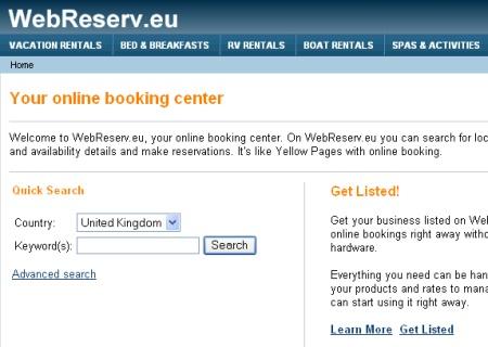 WebReserv now in Europe