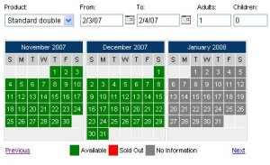 Grayed out booking calendar