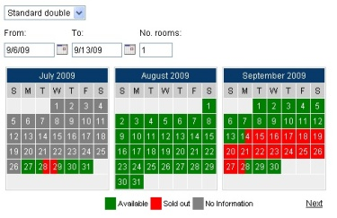 Updated availability calendar