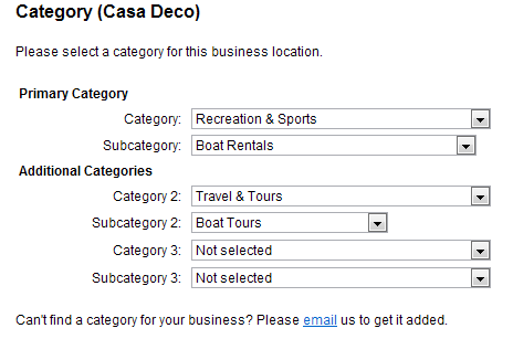 Selecting categories