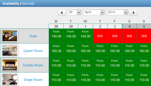 New booking calendar includes availability grid as standard