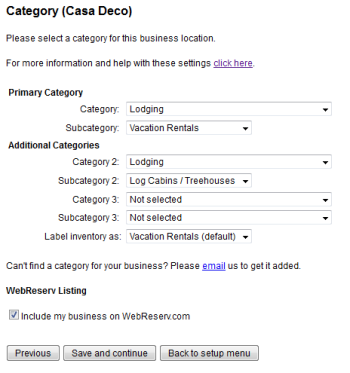Include your business listing on the WebReserv Portal