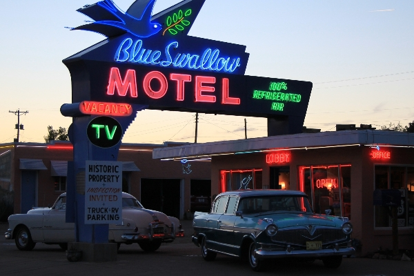 The fabulous neon sign of the Blue Swallow.