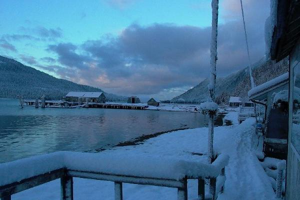 Cassiar Cannery - snowy dock view