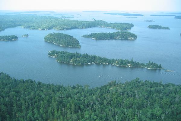 Arial view of Spruce Island