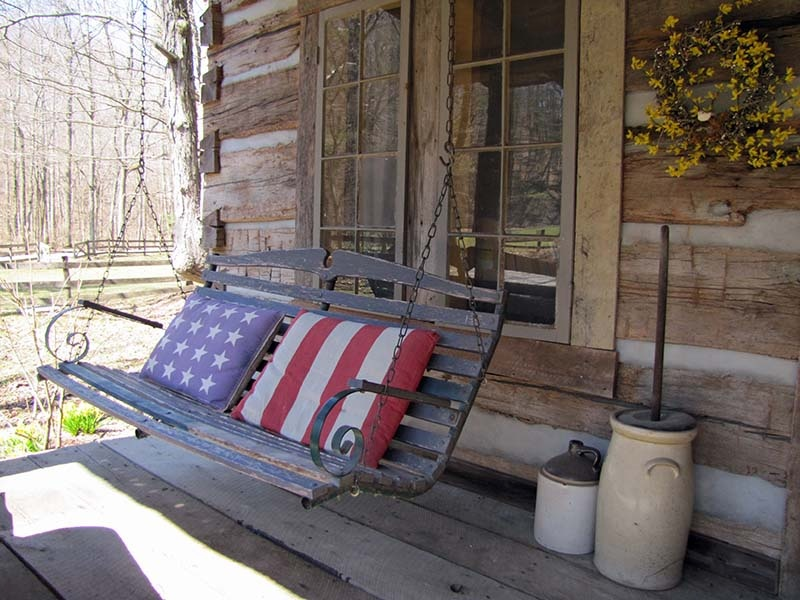 antique cabin front porch swing - Front Porch Swing