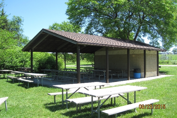 Shelter with restrooms at one end
