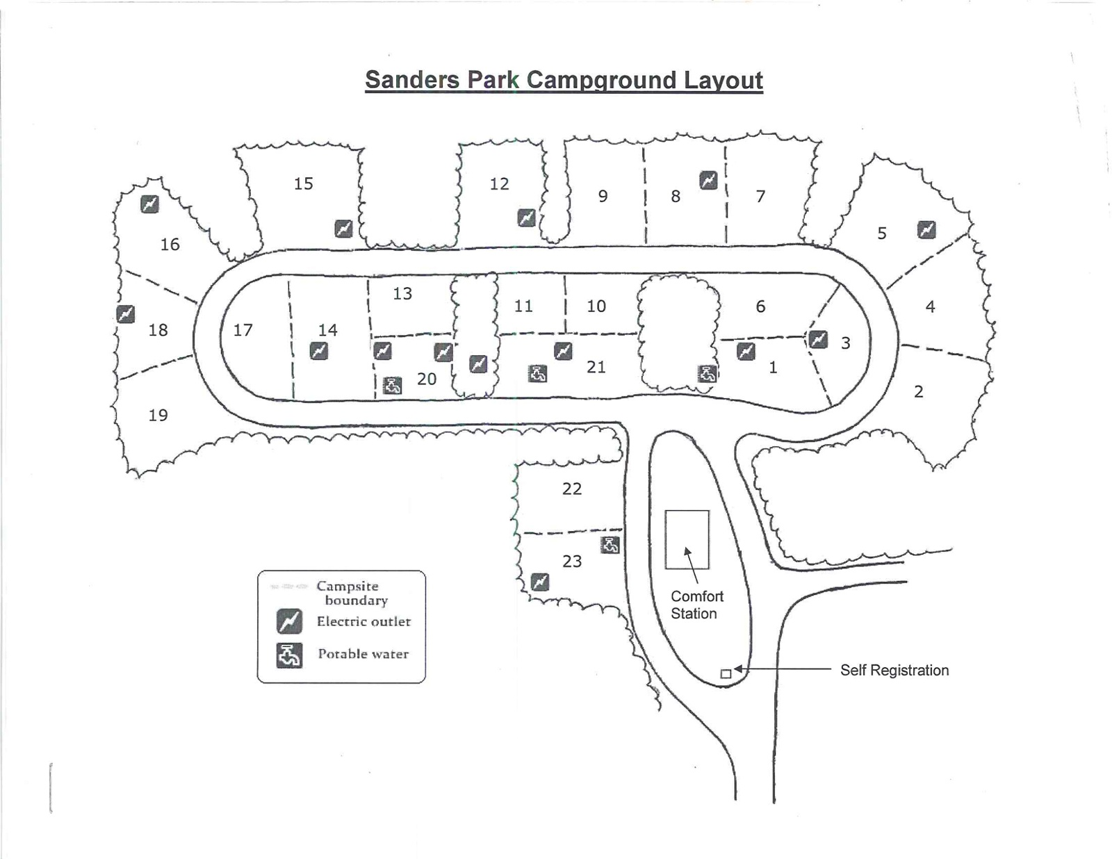 Sanders Park Campground Map