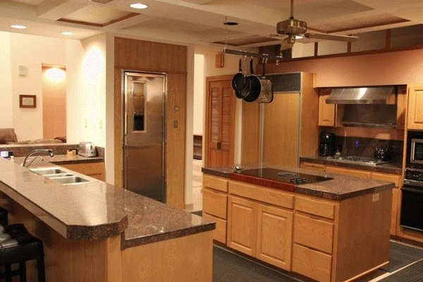 Main Ranch House Kitchen with walk-in fridge