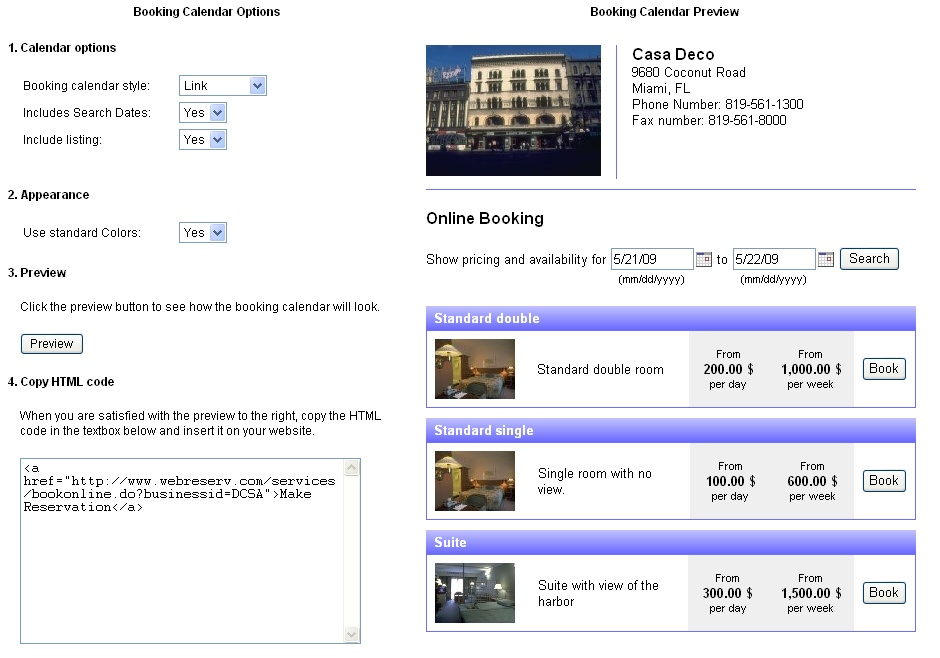 Adding The Booking Calendar To Your Website
